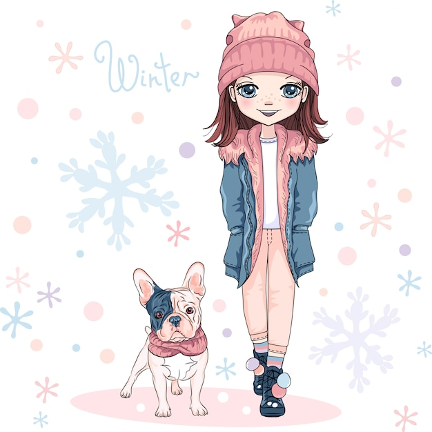 Cute girl with dog Premium Vector