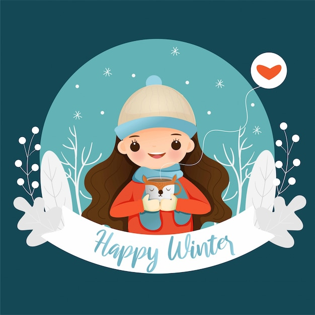 Cute girl with hot chocolate on happy winter poster Premium Vector