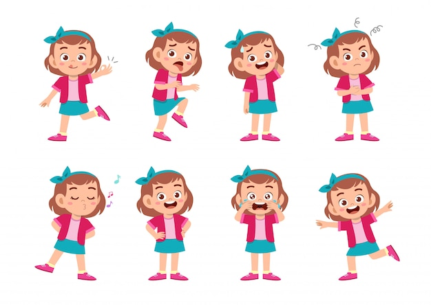 Cute girl with many gesture expressions Premium Vector