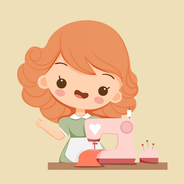 Cute girl with sewing machine cartoon character Premium Vector
