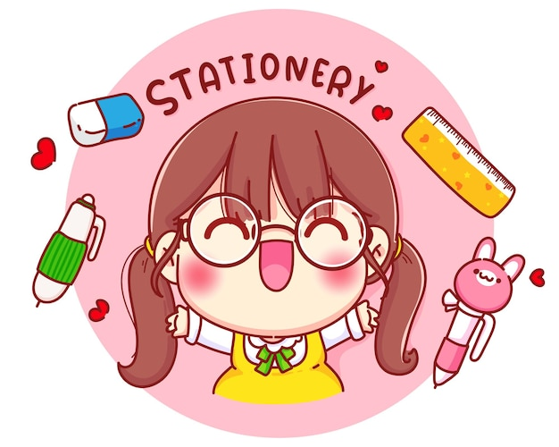Cute girl with stationery cartoon character illustration Free Vector