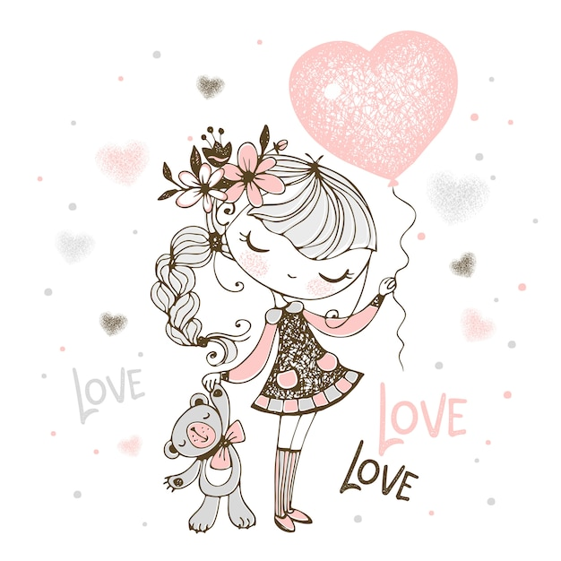 Cute girl with a teddy bear and a balloon in the shape of a heart. valentine. Premium Vector