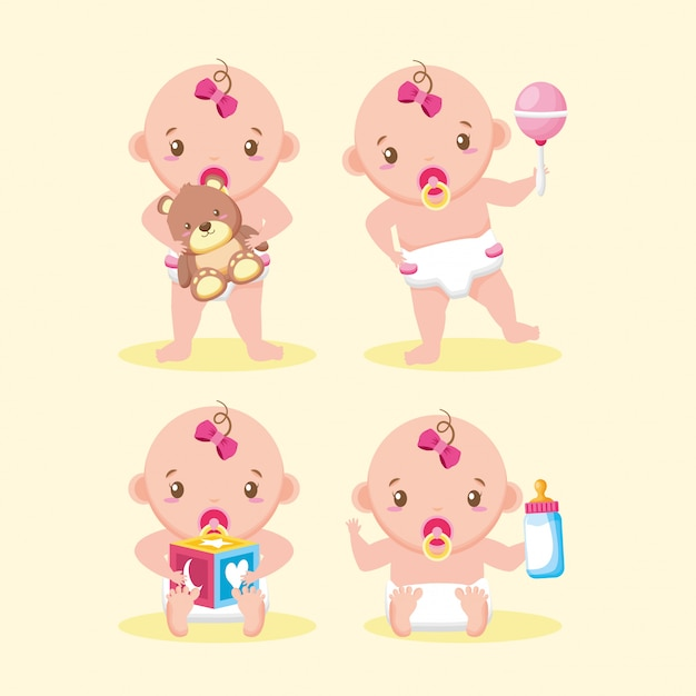 Cute girl with toys collection Free Vector