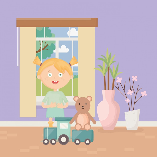 Cute girl with train and teddy in the home, kids toys Premium Vector