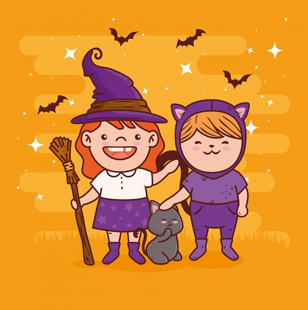 Cute girls disguised of witch and cat for happy halloween celebration vector illustration design Premium Vector