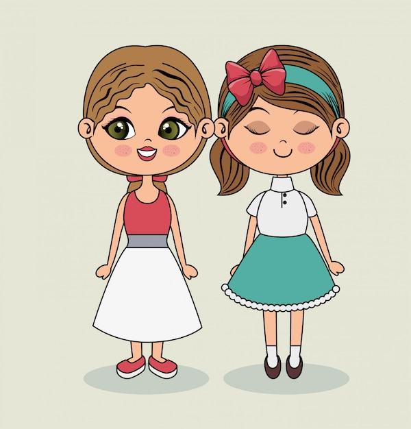 Cute girls fashion clothes beauty Free Vector