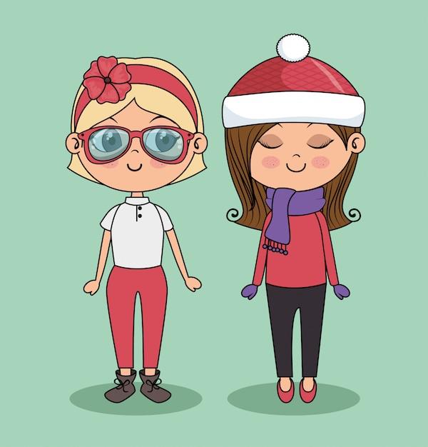 Cute girls fashion friend Free Vector