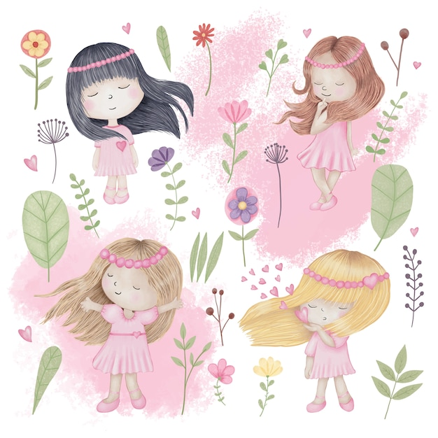 Cute girls set with flowers Premium Vector