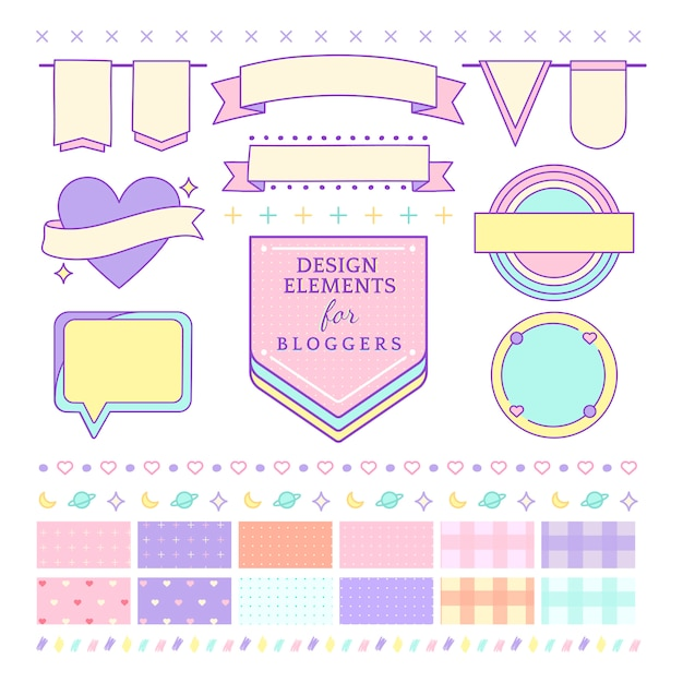 Cute and girly design elements for bloggers vector Free Vector
