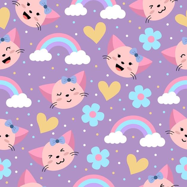 かわいいガーリーピンクの猫の漫画の心と花のシームレスなパターン Premiumベクター