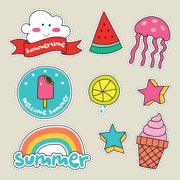 Cute girly sticker patch design series Premium Vector