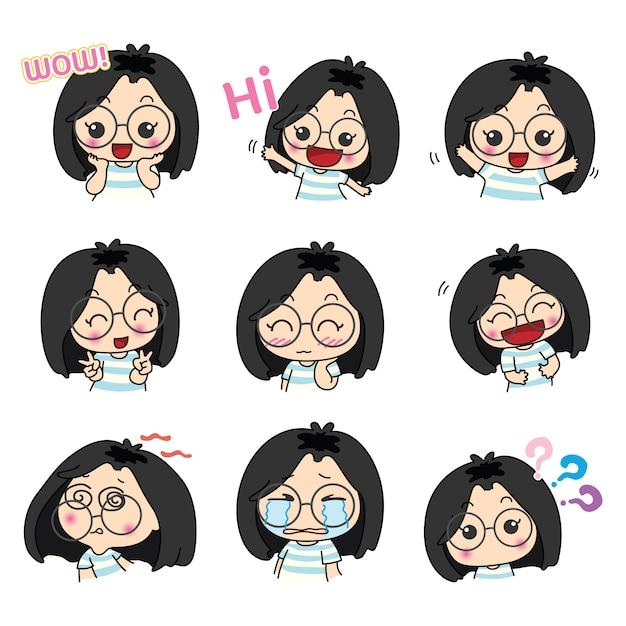 Cute Glasses Girl Character Design Premium Vector