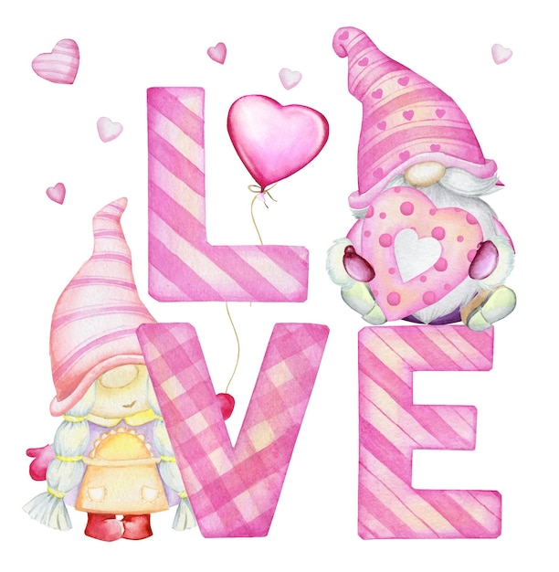 かわいいノーム、手紙、ハート。休日、バレンタインデーのための、孤立した背景に、漫画風の水彩クリップアート。 Premiumベクター