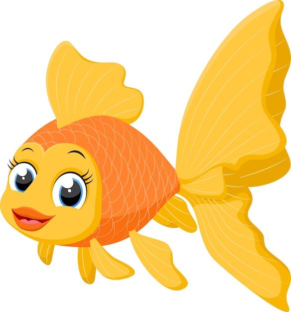 Cute goldfish cartoon Vector | Premium Download