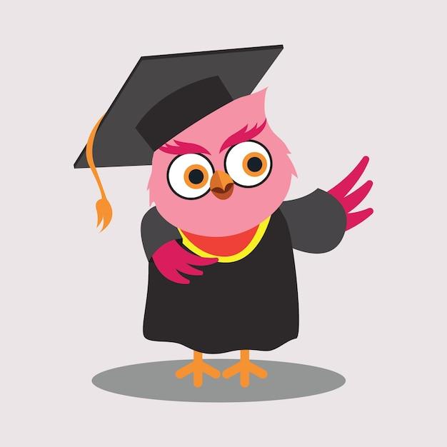 Cute graduated owl cartoon character Free Vector