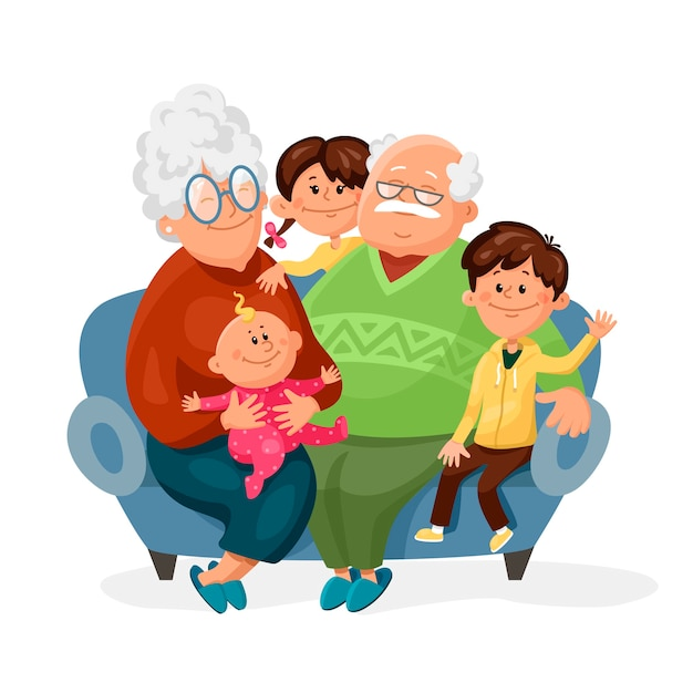 Cute grandmother and grandfather are sitting on the couch with their grandchildren. Premium Vector