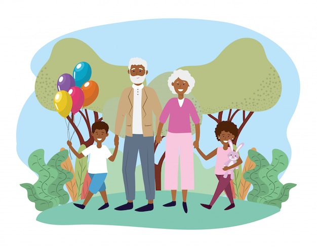 Cute grandparents with their happy kids and balloons Premium Vector