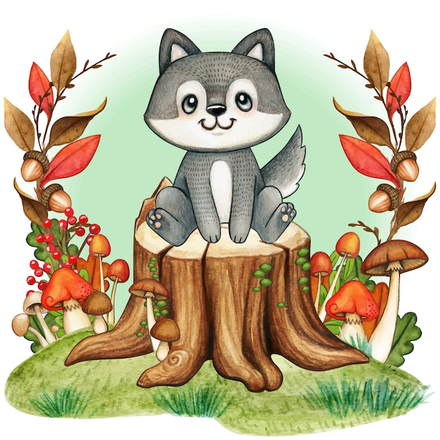 秋の森の木の切り株にかわいい灰色赤ちゃんオオカミ Premiumベクター