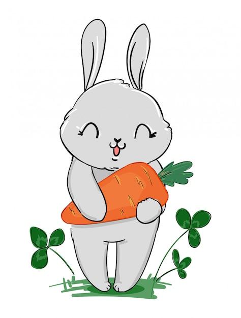 Милый серый кролик держит морковь и клевер, изолированные на белом фоне. Premium векторы