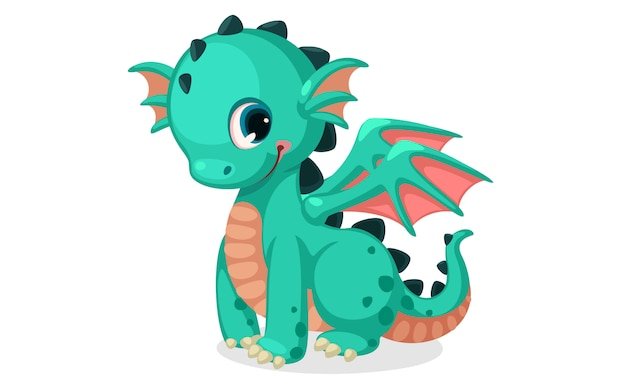 Cute green dragon cartoon vector Free Vector