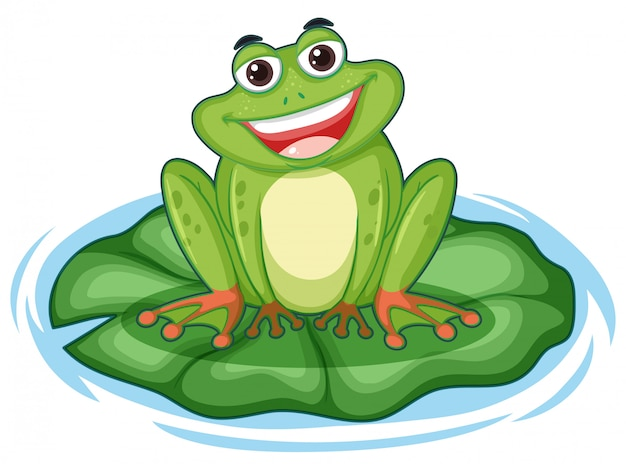 Cute green frog on lotus leaf Free Vector