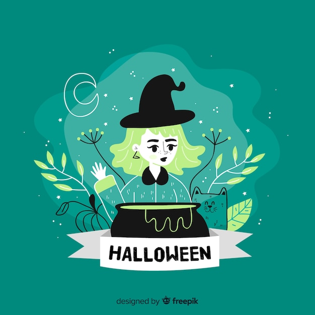 Cute green hand drawn halloween witch background Free Vector