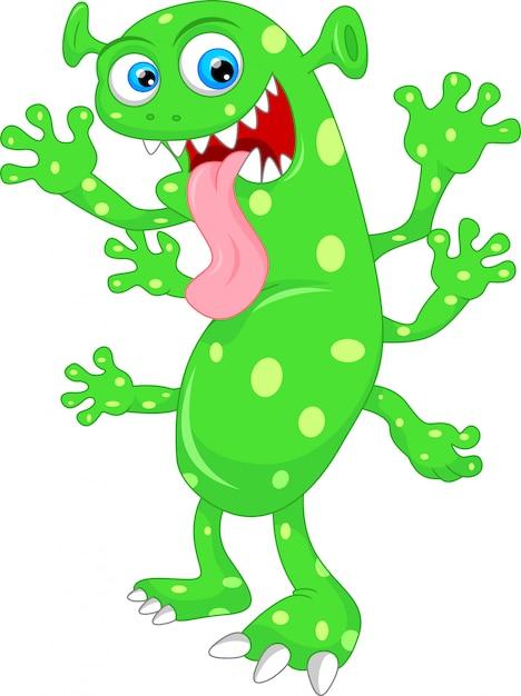 Cute green monster cartoon Premium Vector