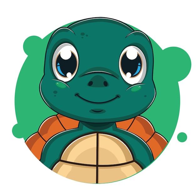 Cute green turtler avatar Vector | Premium Download