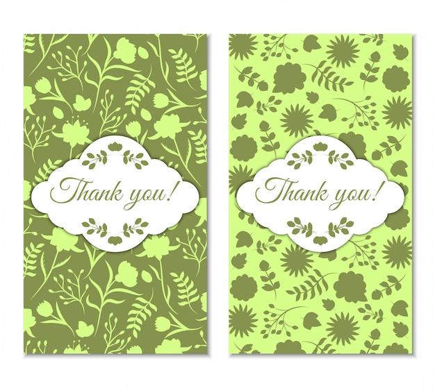かわいいグリーンヴィンテージ花柄お礼状セット。 Premiumベクター