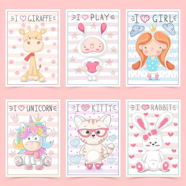 Cute greeting cards for kids with animals Premium Vector