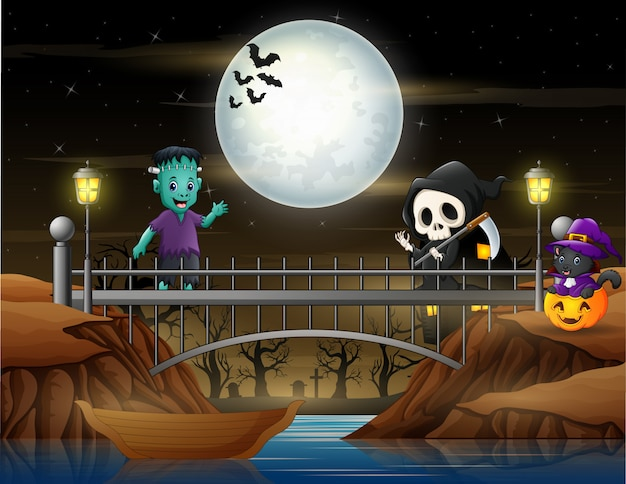 Cute a grim reaper, frankenstein and cat in the bridge Premium Vector