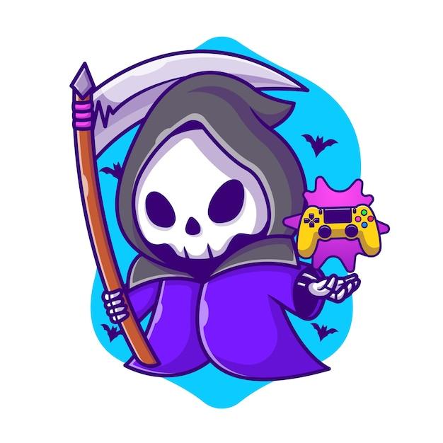 Симпатичные grim reaper игры с косой мультфильм иллюстрации. концепция значок игры хэллоуин Premium векторы