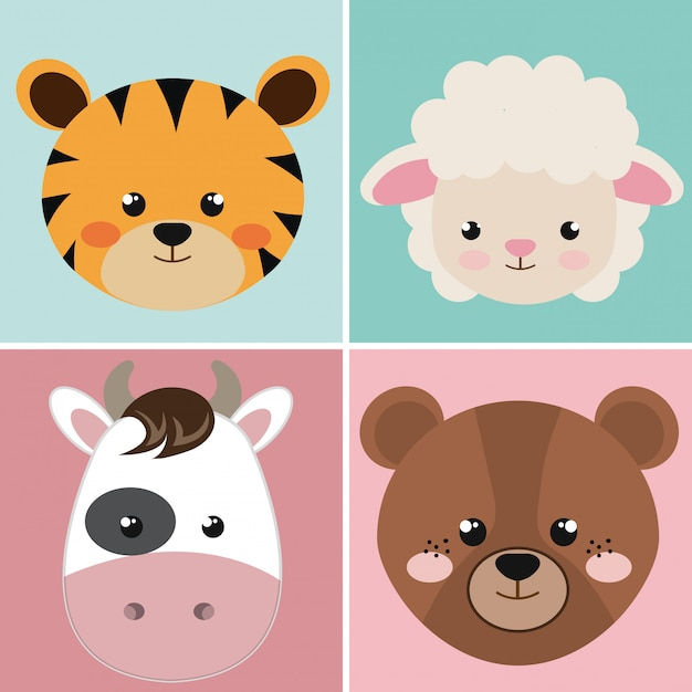 Cute group head animals characters Free Vector
