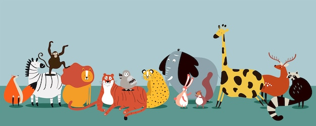 Cute group of wild animals vector Free Vector
