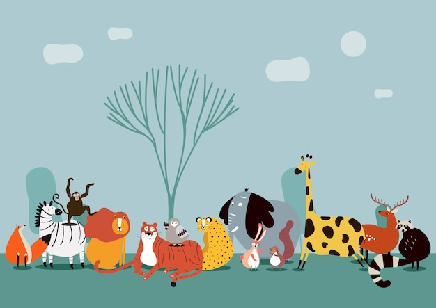 Cute group of wild animals Free Vector