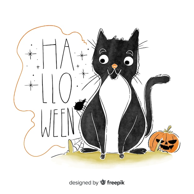 Cute halloween background hand drawn style with a cat Free Vector
