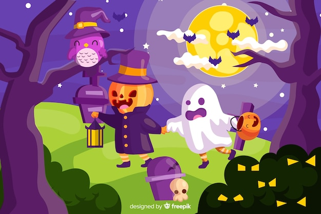 Cute halloween background with flat design Free Vector