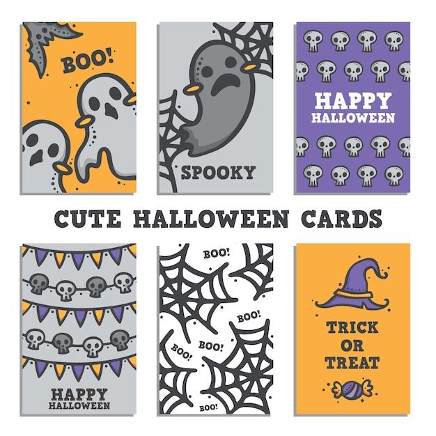 cute halloween card design set premium vector