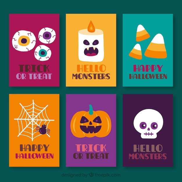 cute halloween cards free vector