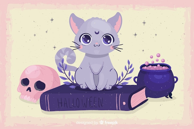 Cute halloween cat with flat design Free Vector