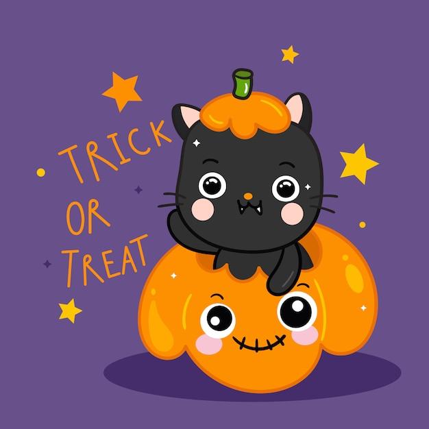 Cute halloween cat with pumpkin cartoon doodle style Premium Vector