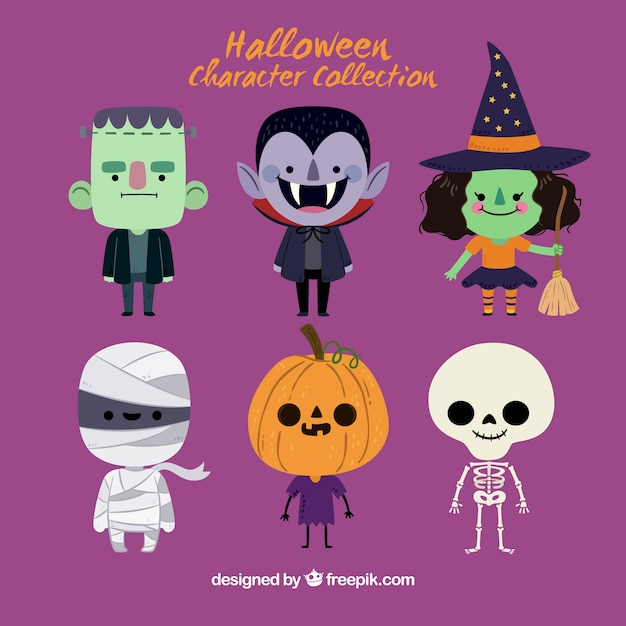 Cute halloween character set Premium Vector