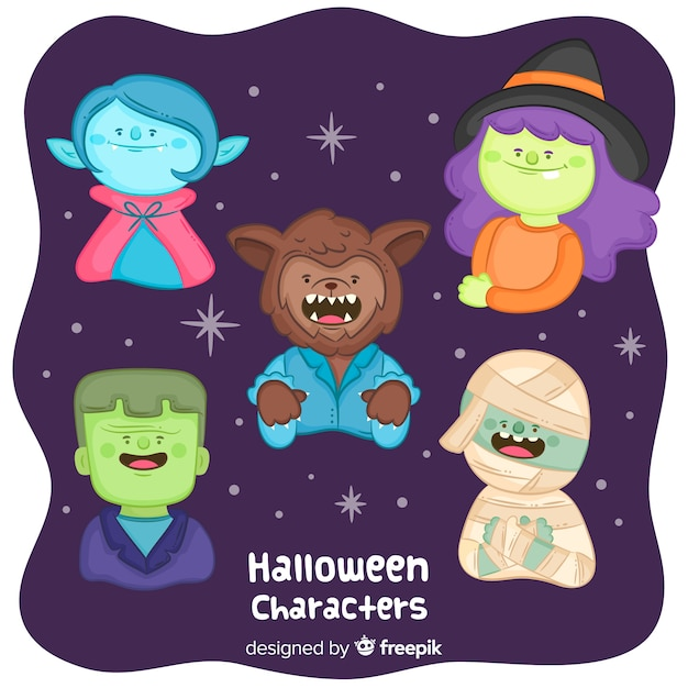 Cute halloween characters collection Free Vector