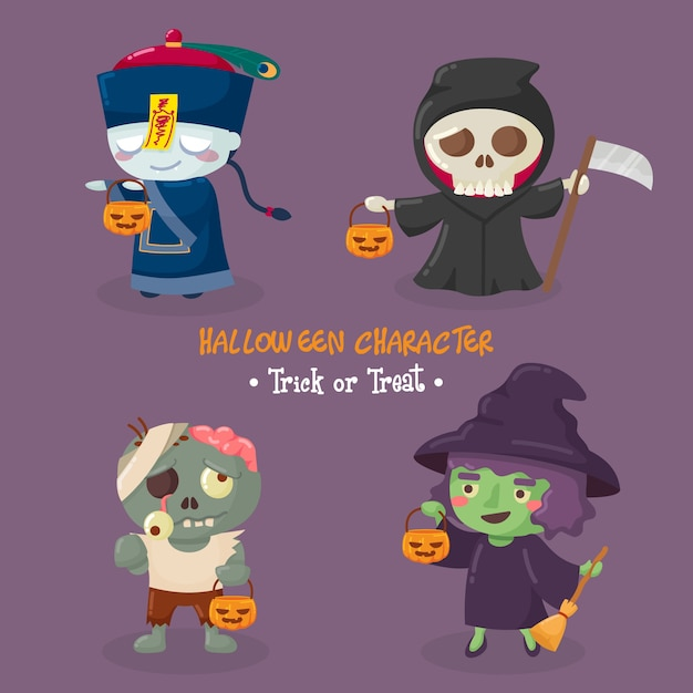 Cute halloween characters collection Premium Vector