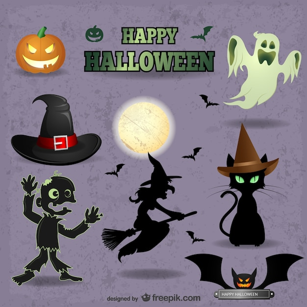 Cute Halloween characters pack Free Vector