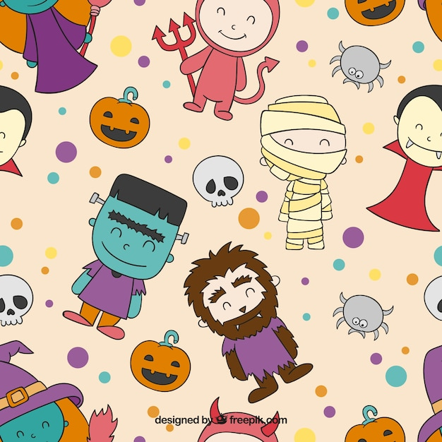 Cute halloween characters pattern Vector | Free Download