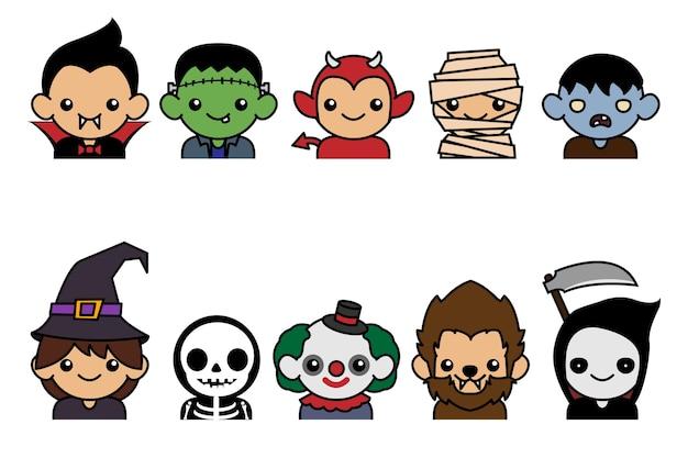 Cute halloween charactors collection Premium Vector