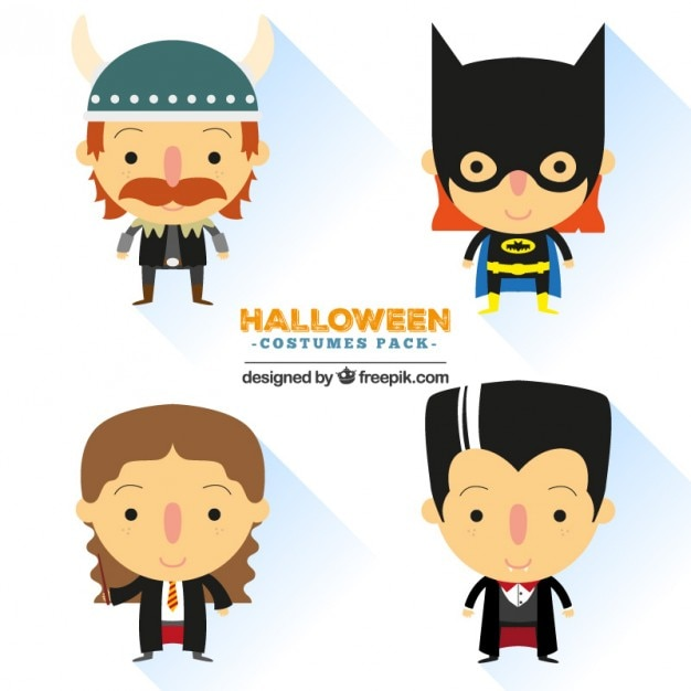Cute halloween costumes Vector | Free Download