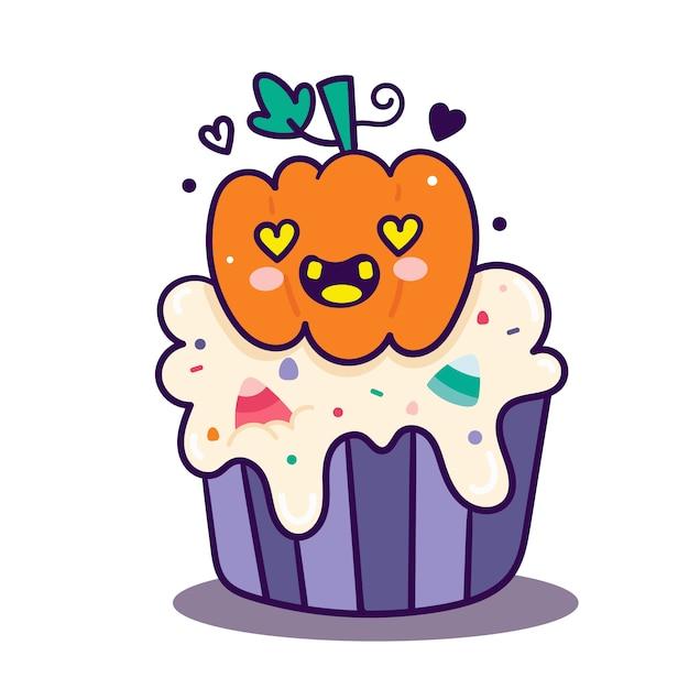 Cute halloween cupcake pumpkin cartoon Premium Vector