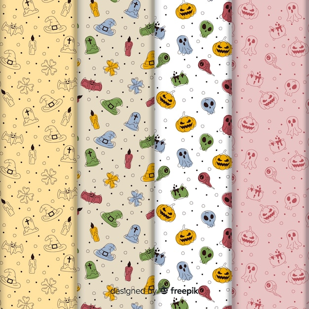 Cute halloween doodles pattern collection Free Vector
